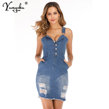 Sexy Hole Denim summer Dress Women Slim Jeans One piece Cowboy vintage Dresses Pocket Button Bodycon party dress Vestidos 2019 цена