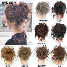 Curly Chignon Scrunchie Hair Rubber-Band NICESY Elastic Black Synthetic Brown for Woman