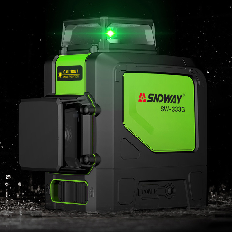 SNDWAY laser level 3D 12 line automatic laser automatic leveling machine 360 degree rotating cross green red beam