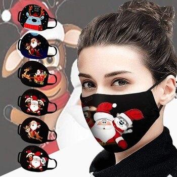 2020 Christmas Unisex Respirator Christmas Santa Elk Print Cotton Windproof Washable cartoon elk print christmas tee