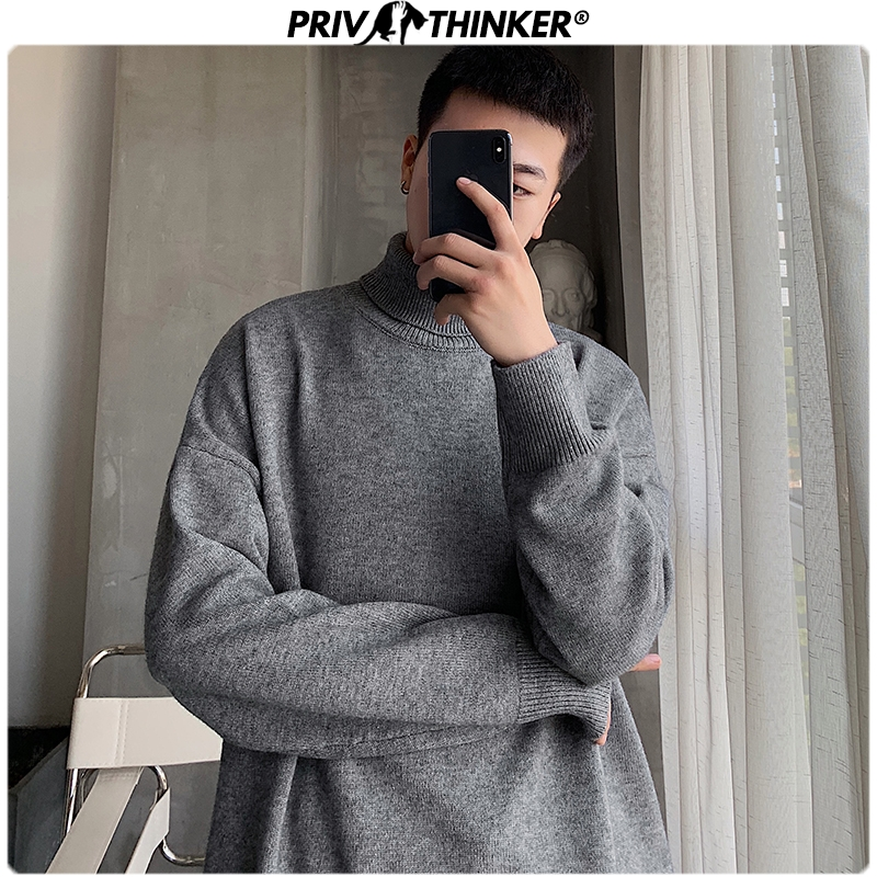 Privathinker Men 9 Colors Turtleneck Loose Sweaters 2019 Mens Autumn Winter Pullovers Tops Male Korean Fashion Sweater Clothing