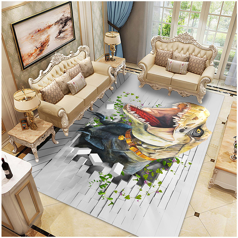 Nordic 3D Dinosaur Carpet Kids Living Room Sofa Bedroom Children Play Mat Cartoon Parlor Large Rugs Hallway Door Mat Customized