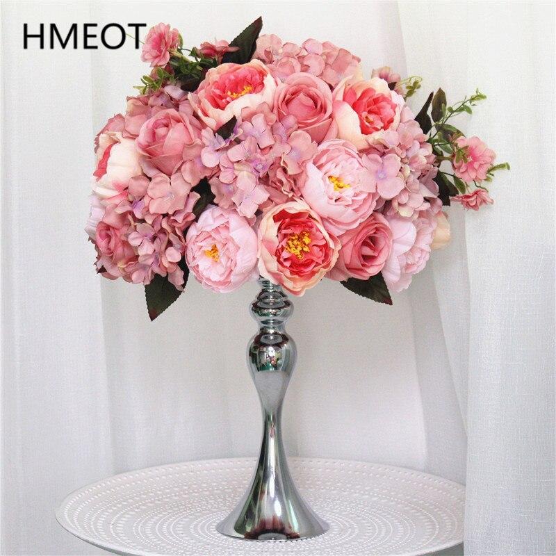 Customicable Роза Пион искусственная Гортензия цветок мяч вечерние свадебные обеденный стол Центральная композиция из шелковых цветов букет