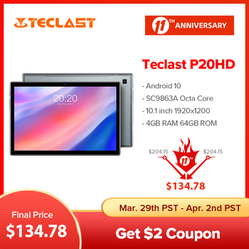 Teclast P20HD 10.1 Inch Tablet Android 10 1920x1200 Octa Core 4GB RAM 64GB ROM Dual 4G Phablet AI Speed-up Tablets PC Dual Wifi 1