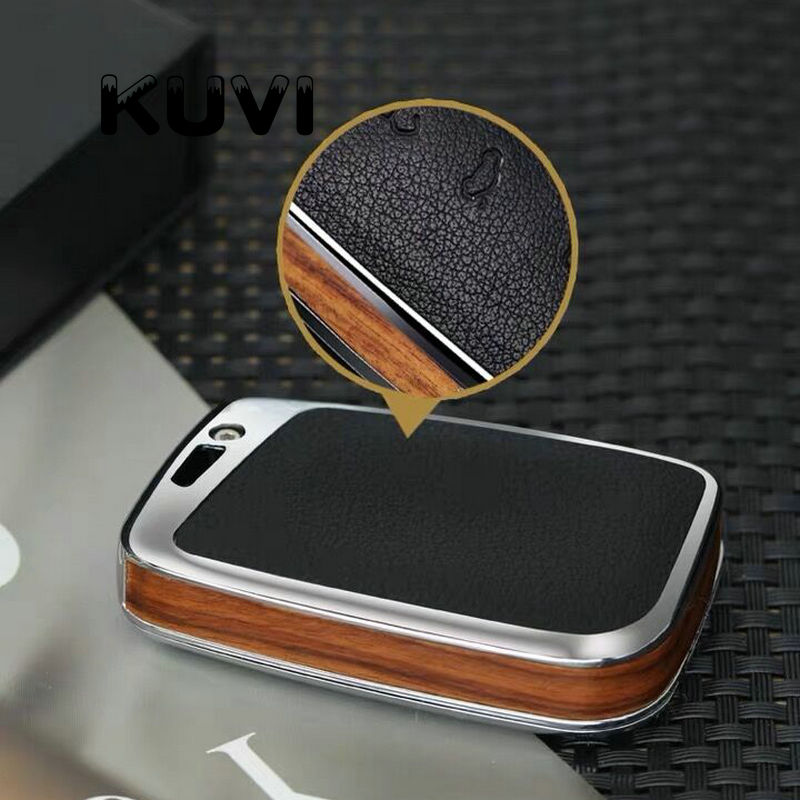 lowest price Wood leather alloy Key Cover Case Auto Remote Key Cover Shell For Volkswagen VW 2016 17 Passat B8 Skoda Superb Car Accessories