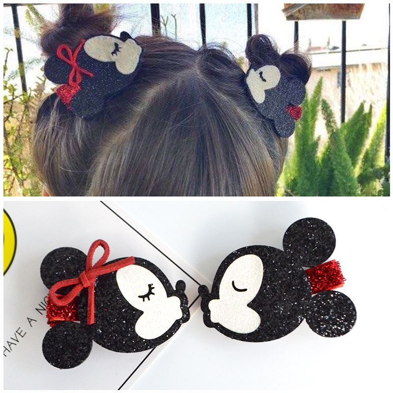 Baby Girl Minnie Mouse Cartoon Handmade Hairpin Girls Mickey Hair Accessories Children Hair Ropes A Pair Baby Headdress For Girl