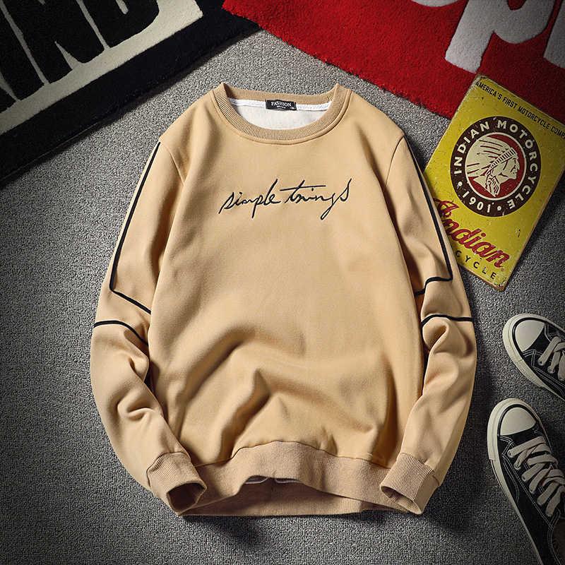 Polyester Sweatshirt Man Geen Hood 2020 O Hals Truien Jassen Mannen Kleding Print Brief Hip Hop Hooded Mannelijke Jassen zwart Wit