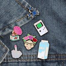 Vintage rosa fonógrafo tai chi esmalte pinos estrela de leite omg broche para mulheres jaquetas botão crachá saco lapela moda jóias presente