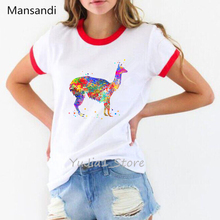 Ropa mujer 2019 WatercolorAlpaca Llamaanimal print t shirt women summer kawaii tshirt tee femme tops women's