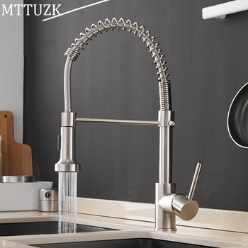 Gold Kitchen Faucets Black  Brass Faucets for Kitchen Sink Single Lever Pull Out Spring Spout Mixers Tap Hot Cold Water Crane