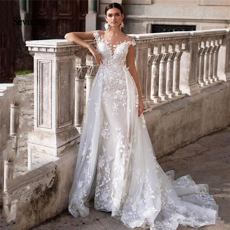 Sevintage Mermaid Wedding Dresses Lace Applique Backless Bridal Gowns With Overskirt Bohemian Wedding Gown Robe De Mariee