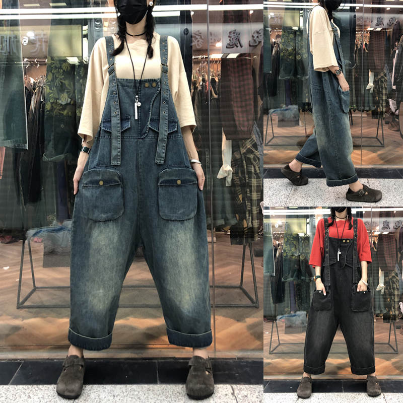 Wide Leg Denim Jumpsuit Women Plus Size Street Hip Hop Straight Overalls Drop Crotch Bib Jeans Baggy Cowboy Boyfriend Rompers