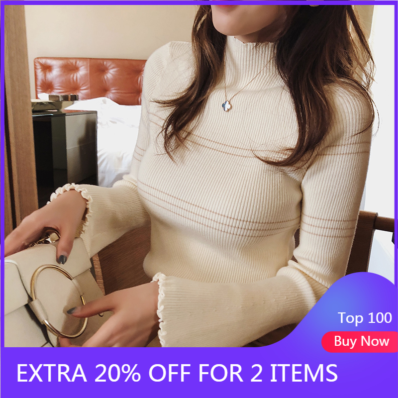 Mishow Sweaters 2018 Knitted Bottoming Long Sleeve Solid Pullovers Women Striped Jumper Autum Winter Knitwear Tops MX18D5136