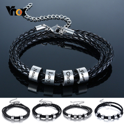 Vnox Free Personalize Family Name Bracelets for Men Layered Leather With Beads Charm Bracelet Couple Anniversary Gift to DAD Son
