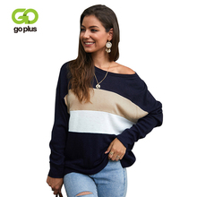 цена на GOPLUS Plus Size Striped Knitted Women's Sweater Patchwork Warm Batwing Sleeve pullover 2020 Autumn Winter Jumper Pull Femme