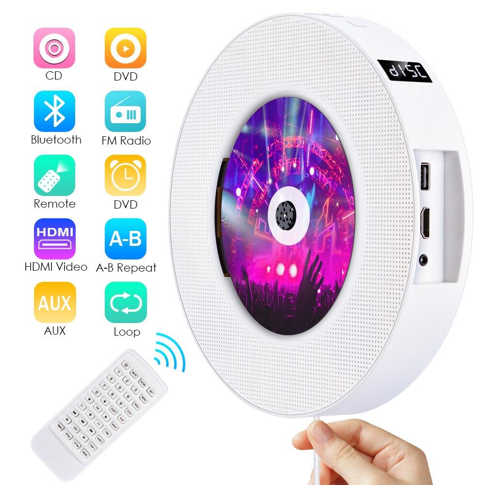 Lecteur CD/DVD Bluetooth Portable mural Qosea affichage de LED USB haut-parleur HiFi Audio avec télécommande Radio FM intégrée
