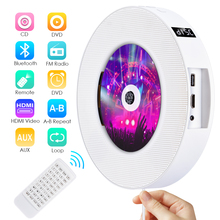 Qosea Portable Wall Mountable Bluetooth CD/DVD Player USB LED Display HiFi Speaker Audio with Remote Control FM Radio Built-in