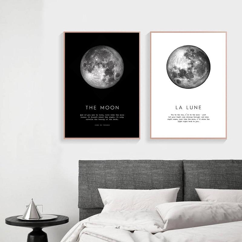Estilo nórdico a lua arte da parede da lona cartaz impressão pintura minimalista la lune quadro decorativo moderno sala de estar decoratio
