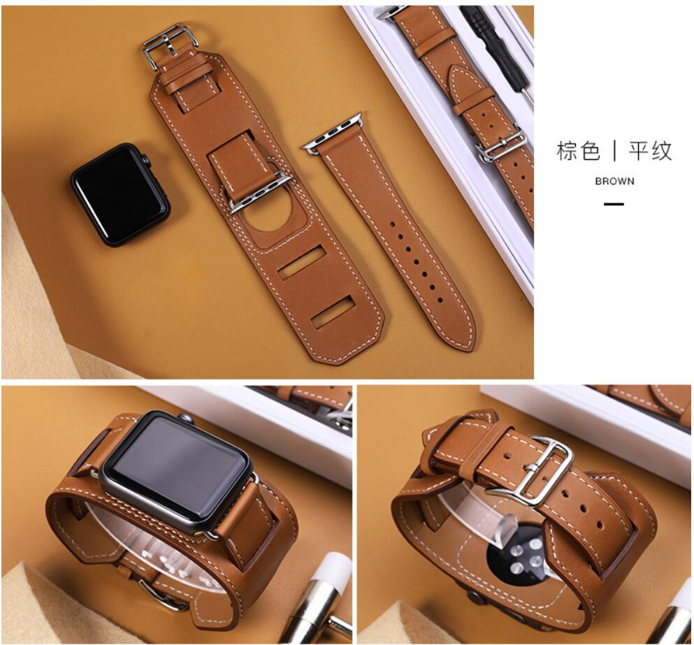 Fashion Strap For Apple Watch Cuff Band 42mm 38mm 40mm 44mm Bracelet Leather Seriese 1/2/3/4/5