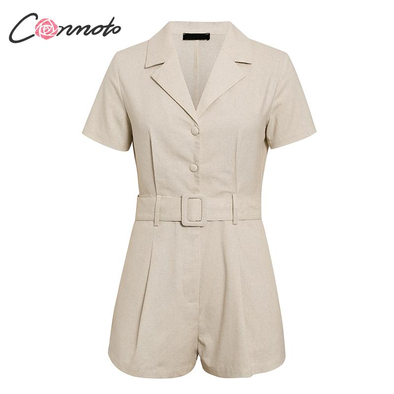 Image 5 - Conmoto button belt tie summer plusysuits romper women causal linen beach playsuits romper white beach short jumpsuit romperRompers   -