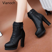 2017 Womens Ankle Boots Sexy Platform Pumps Winter Fur Black Heeled Shoes Lady Fashion New aa0589