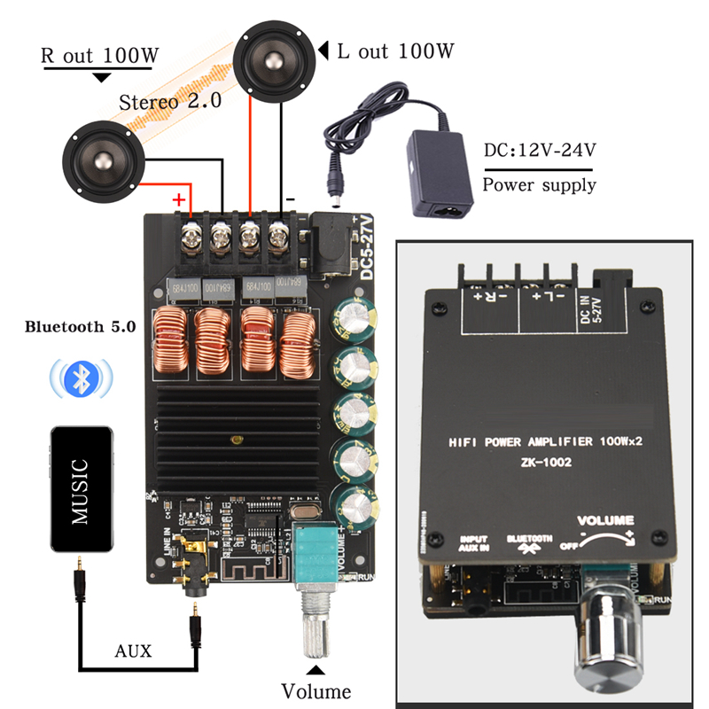 HIFIDIY LIVE Bluetooth 5.0 AUX TPA3116 Digital Power Amplifier board 2x 50W 100W speaker Stereo Audio AMP Module Home music 502C