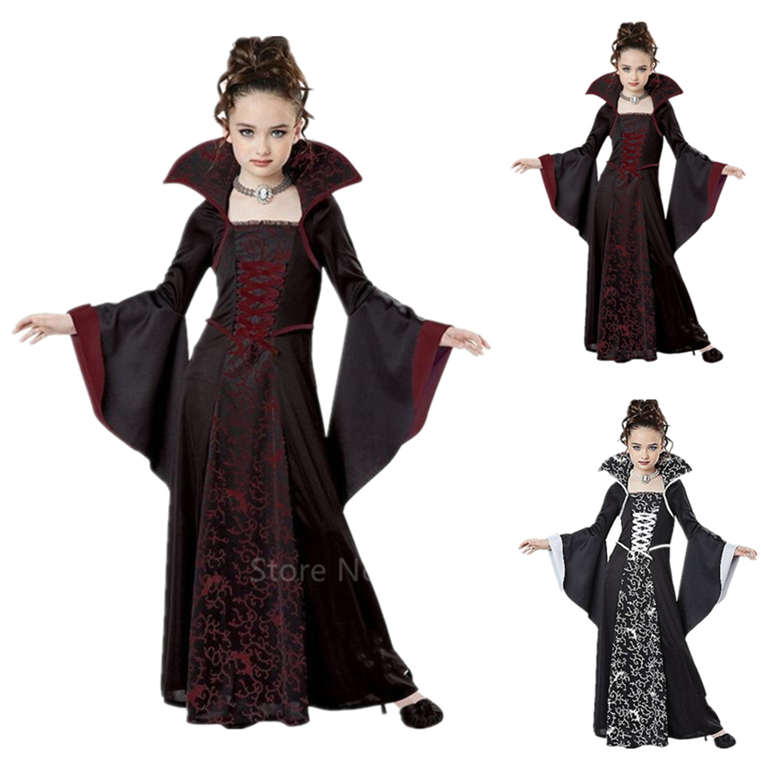Halloween Costumes For Kids Girls Medieval Cosplay Vintage Court Princess Witch Middle Ages Carnival Party Long Sleeve Dress