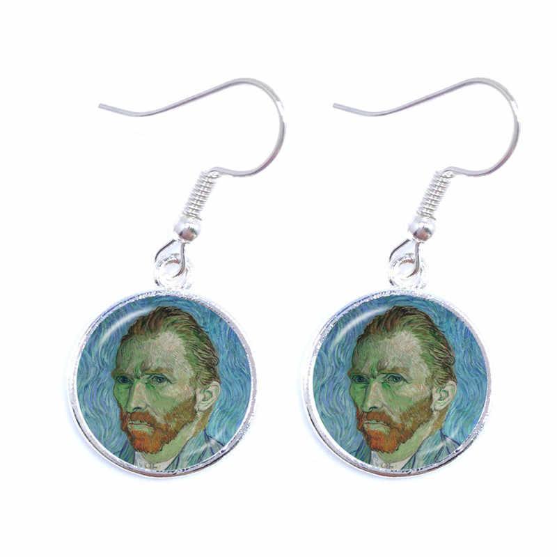 אופנה כסף צבע פשוט סגנון עגילי ואן גוך מפורסם אמן ליל הכוכבים Drop עגילי זכוכית קרושון תכשיטי נשים מתנות
