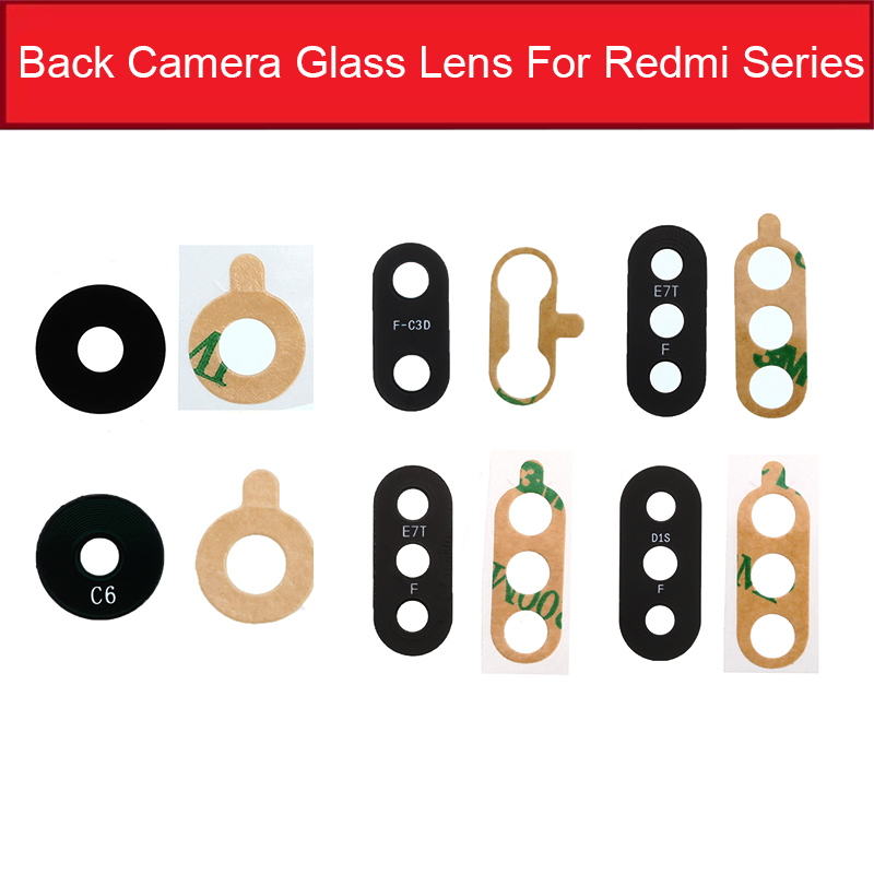 Back Camera Glass Lens With Adhesive Sticker For Xiaomi Redmi 1S 2 2A 3S 3X 4X 4A 5Plus 6Pro 6A 7 7A 8A S2 Y2 Camera Lens Glass