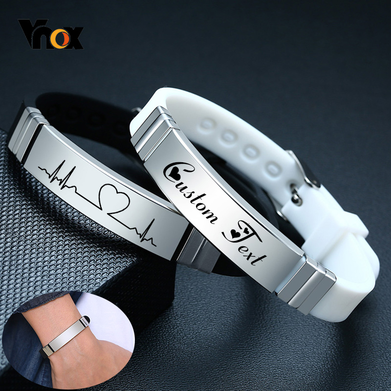 Vnox Casual Silicone Bracelet For Men Women With Personalize Engrave Service Stainless Steel ID Tag Custom Unisex Jewelry