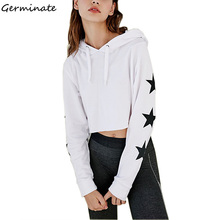 Cropped Sweatshirt Hoodies Women White Aesthetic Kawaii Blackpink Ariana