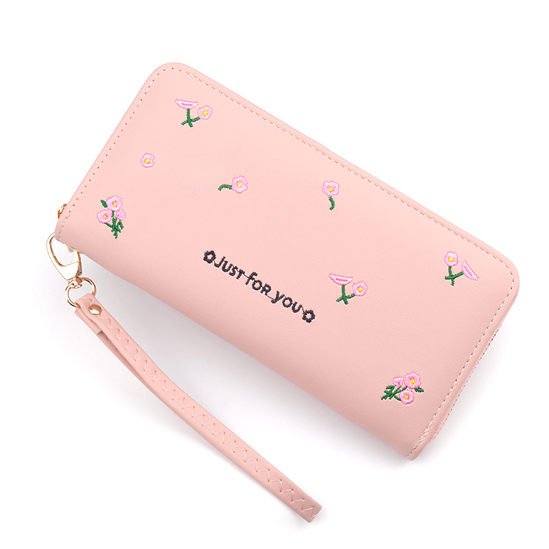 Leather Women's Wallets New Multifunction Large Capacity Fashion Embroidered Purses Female Long Zipper Wallet Women Clutch Bag