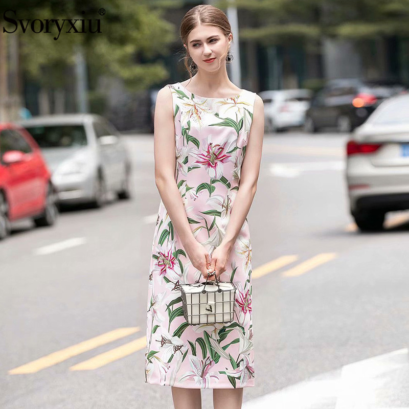 Svoryxiu Runway Elegant lily Flower Print Sleeveless Dress Women 39 s O Neck Slim Summer Casual Holiday Midi Dress Vestdios in Dresses from Women 39 s Clothing