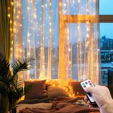 3m bajkowe oświetlenie LED garland pilot światełka do powieszenia na zasłonę dekoracja wnętrz okno sypialni Christmas party oświetlenie świąteczne tanie tanio SFOED 1 year Silver wire Przycisk komórki Żarówki led Brak Girlanda 300cm 1-5 m WHITE MULTI Ciepły biały 200 0350-0352