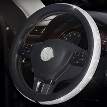 Rhinestone Car skórzana obudowa na przyciski na kierownicy Cap kierownica Crystal Cover Auto akcesoria do wnętrza samochodu dla kobiet dziewczyn