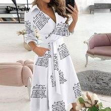 Elegant Women Letter Diamond Print Party Dresses Spring Fashion Sexy V-Neck Belt A-Line Dresses Female Casual Long Sleeve Dress