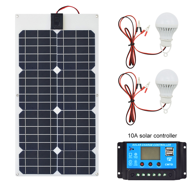 50W 18V Solar Panel Dual DC Output Solar Cells Panel 10A/20A Controller Led lights