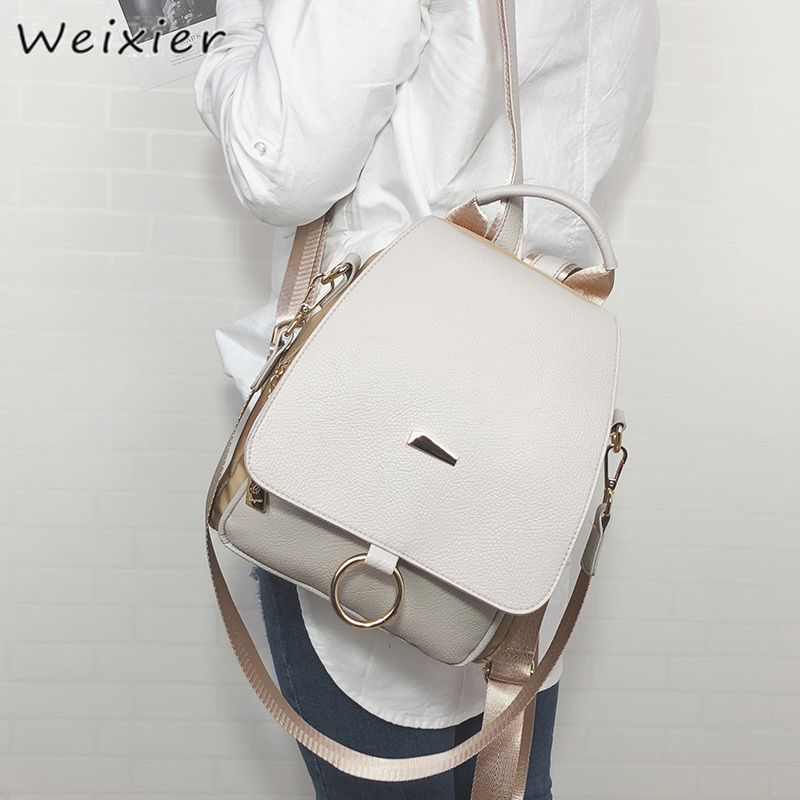 WEIXIER 2019 New Backpack Female Shoulder Women PU Leather And Nylon Backpack College Simple Retro Leisure Bag LQ-58A