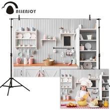 Allenjoy Bếp Nền Chụp Ảnh Gỗ Trắng Tủ Đồ Dùng Nhà Bếp Chân Dung Phông Nền Photocall Để Chụp Biểu Ngữ Vải