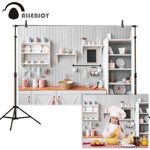 Image 1 - Allenjoy キッチン写真撮影の背景白木製の食器棚台所用品の肖像画の背景 photocall photobooth バナー反