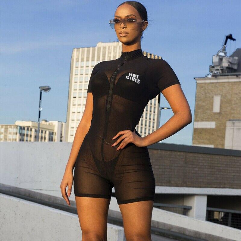 2020 Sexy Beach Cover Up Black Mesh Beach Tunic Women Bikini Cover-ups Beachwear Female Swimsuit Cover Up Loose Romper Swimwear