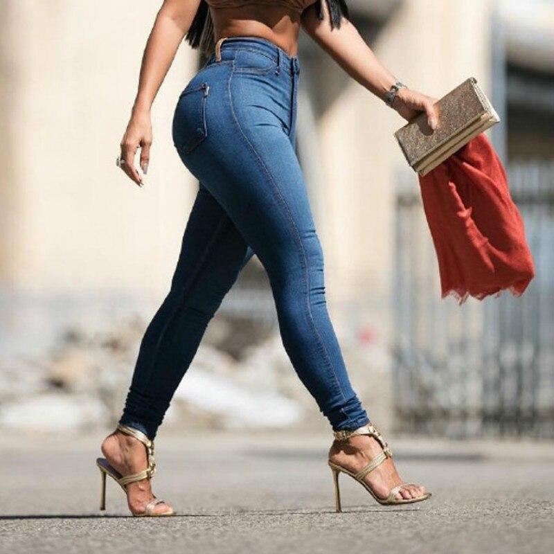 2020 Spring Slim Elasticity Skinny Jeans Women Europe High Waist Push Up Pencil Pants Mujer Casual Deep Blue Vintage Plaid Denim