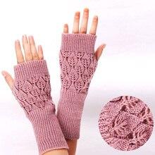 Knitted Gloves Crochet Fingerless Winter Warm Women Stretch Faux-Girls Acrylic
