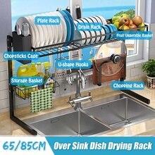 65/85cm Black Kitchen Organizer Storage Shelf Stainless Steel Over Sink Bowl Dish Dry Rack Holder Utensils Storage Organizer