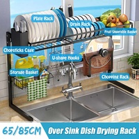 65/85cm Black Kitchen Organizer Storage Shelf Stainless Steel Over Sink Bowl Dish Dry Rack Holder Utensils Storage Organizer
