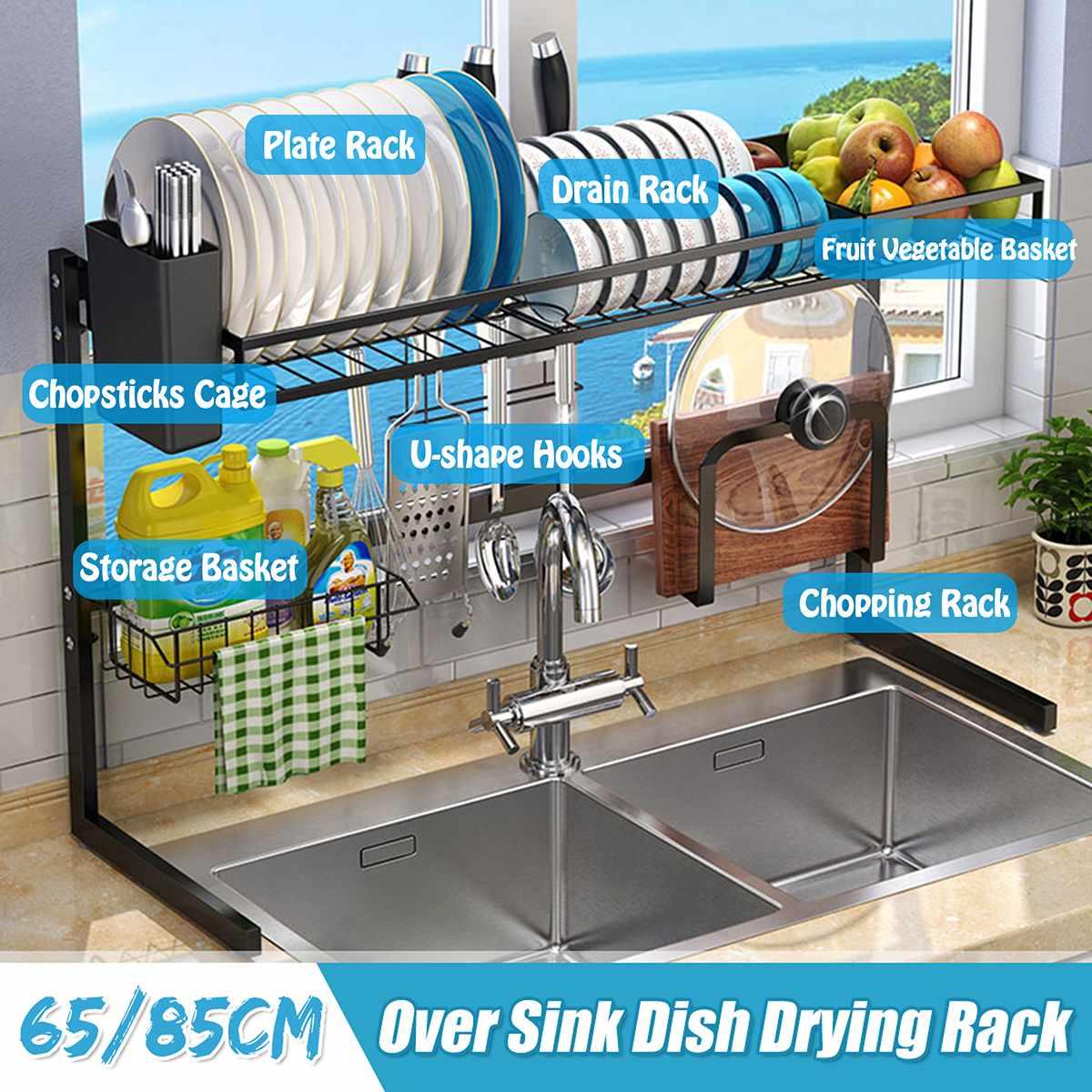 65/85cm noir cuisine organisateur étagère de rangement en acier inoxydable sur évier bol plat sec support étagères ustensiles organisateur de stockage
