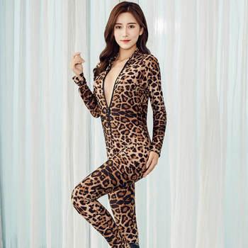 2020 XS-8XL Women Black Striped Sheer Bodysuit Smooth Fiber 2 Zipper Long Sleeve Jumpsuit 4