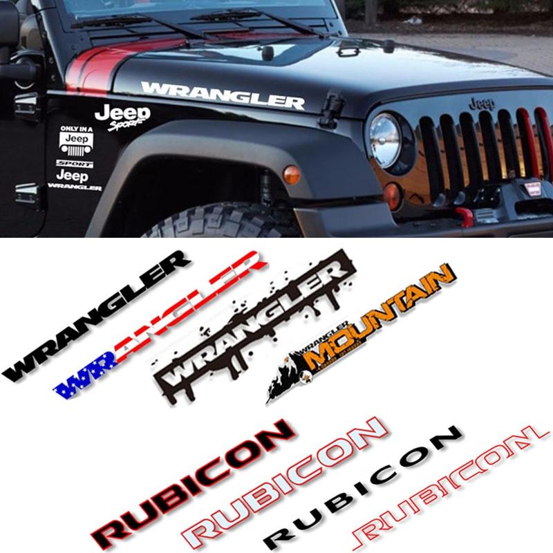 2pcs Cool Vinyl Decals for Jeep Rubicon Wranngler Unlimited TJ JK JL Letter Character Engine Hood Bonnet Cover Sticker Refit