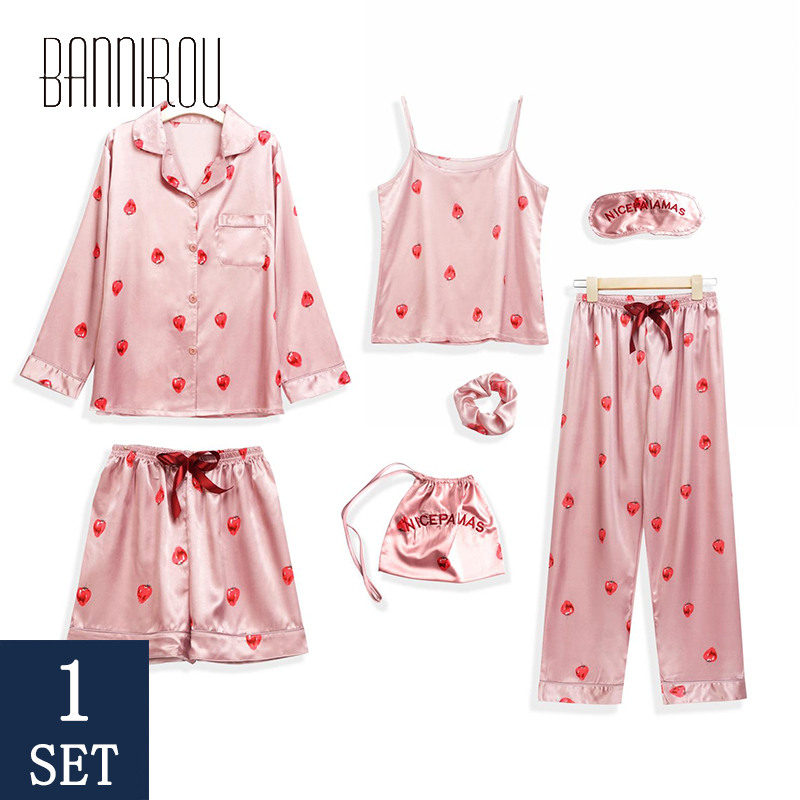 7 Piece Pajamas Sets For Woman Pink Female Strawberry Pyjamas Suits Cure Silk Stain Woman Pajamas Sets Summer New 2020 BANNIROU