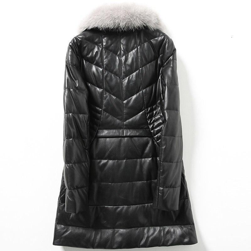 2020 New Womens Genuine Leather Down Jacket Fox Fur Collar Sheepskin Long Coat Female Design Slim Black Overcoat Plus Size 5XL